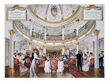First Class Dining Room Aboard Rms Lusitania (Colour Litho) Giclee Print