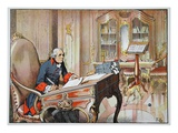 Frederick the Great in His Office at Sanssouci (Colour Litho) Giclee Print by Richard Knoetel