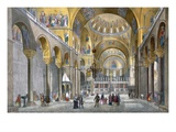 Interior of San Marco Basilica, Looking Towards the Dome, from 'Views of Venice' Giclee Print by  Italian
