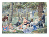Advertisement for 'Imperial Ceylon Biscuits' Made by 'Huntley and Palmer' Depicting a Picnic Giclee Print by  English