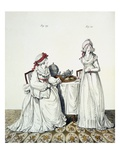 Two Ladies at Breakfast in their Dressing Room, Wearing Night Caps and Peignoirs Giclee Print by Nicolaus von Heideloff