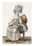 Lady in a Shot Taffeta Dress Trimmed with Lace Playing the Guitar, Plate 113 Giclee Print by Pierre Thomas Le Clerc