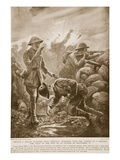 Private J. Miller Staggers Back, Mortally Wounded, with the Answer to a Message and Falls Giclee Print by Alfred Pearse
