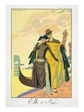 Elle Et Lui, 1921 (Pochoir Print) Giclee Print by Georges Barbier