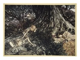 On the Ground Sleep Sound: I'Ll Apply to Your Eye, Gentle Lover, Remedy Giclee Print by Arthur Rackham
