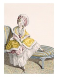 Lady in Morning Gown in Lemon and Pink, Engraved by Dupin, Plate No.55 Giclee Print by Claude Louis Desrais