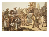March of the Indian Army, Engraved by W.J. Palmer (Coloured Engraving) Giclee Print by Gordon Frederick Browne