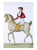 Lady Riding Sidesaddle, from 'Costumes Parisien', Published in 'Journal Des Dames Et Des Modes' Giclee Print by  French