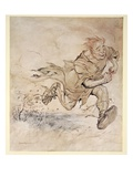 The Thumping of His Big Boots Grew as Continuous as the Pattering of Hail-Stones on the Roof Giclee Print by Arthur Rackham
