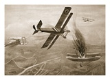 Captain Hawker's Aerial Battle with Three German Aeroplanes (Litho) Giclee Print by W. Avis