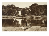 The River at the Isleworth Ferry Looking Towards the Green Glades of Kew Gardens Giclee Print by  English Photographer