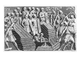 Soldiers, Possibly Building a Pontoon Bridge or Siege Engine, Possibly from Trajan's Column Giclee Print by  Italian