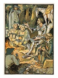 Don Quixote and the Goatherds, Illustration from 'Don Quixote of the Mancha' Retold by Judge Parry Giclee Print by Walter Crane