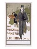 Draft Poster Design for a Winter Clothing Company (Colour Litho) Giclee Print by Louis John Rhead