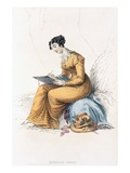 Morning Dress, Fashion Plate from Ackermann's Repository of Arts (Coloured Engraving) Giclee Print by  English