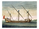 A Three-Masted Galleass under Way by Oar, from 'Le Naptune Francois', C.1693-1700 Giclee Print by Pierre Mortier