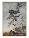 Some War with Rere-Mice for their Leathern Wings Giclee Print by Arthur Rackham