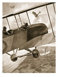 Captain Bell-Irving Engaging Three of the Enemy's Aeroplanes (Litho) Giclee Print by W. Avis