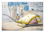 D&#39;Jehalledar, or Canopied Bed Conveyance with Extra-Long Front Giclee Print by Franz Balthazar Solvyns