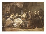 Wicliffe on His Death Bed Assailed by Friars, Engraved by T. Bolton (Coloured Engraving) Giclee Print by  English