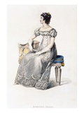 Evening Dress, Fashion Plate from Ackermann's Repository of Arts (Coloured Engraving) Giclee Print by  English