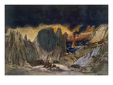 Scenery Design from Phedre, 1917 (Colour Litho) Premium Giclee Print by Leon Bakst