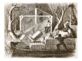 Shooting Cottin-Bales into the Fore Part of the River-Steamer Magnolia Giclee Print by  English