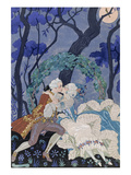 Secret Kiss, Illustration for 'Fetes Galantes' by Paul Verlaine (1844-96) 1928 (Pochoir Print) Premium Giclee Print by Georges Barbier
