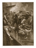 Hand-To-Hand Fight on Board 'The Broke' (Litho) Giclee Print by E.s. Hodgson