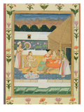 Couple on a Terrace at Sunset, from the Small Clive Album (Opaque W/C on Paper) Giclee Print by  Mughal