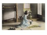 Girl Arranging Flowers (Hand Coloured Photo) Giclee-tryk i høj kvalitet af  Japanese Photographer