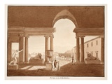 Portico of the Villa Medici, 1833 (Etching with Brown Wash) Giclee Print by Agostino Tofanelli