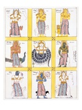 Nine Kinds of Bali Representing the Planets, from 'The History and Doctrine of Buddhism' Giclee Print by  English