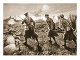 Private De Ath Assisting in Carrying a Trench Mortar across the Open to the Enemy's Lines (Litho) Giclee Print by H. Ripperger