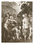 The Danaids Condemned to Fill Bored Vessels with Water, 1730 (Engraving) Giclee Print by Bernard Picart