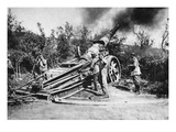 German Soldiers Firing a Heavy Cannon (B/W Photo) Giclee Print by  German photographer