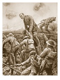 Temporary Major S.W. Loudoun-Shand Helping Men over the Parapet Giclee Print by Alfred Pearse