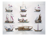 Chinese Ships (Coloured Engraving) Giclee Print by  French