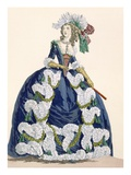 Elaborate Royal Court Dress in Navy Blue with Luxuriant White Frill Design Giclee Print by Augustin De Saint-aubin