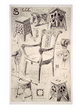 Designs for Chairs and Stools (Litho) Giclee Print by Rene Binet