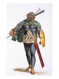 A Warrior of the Cap Verde Islands, from 'History of Travels', 1780 (Hand-Coloured Engraving) Giclee Print by Pierre Duflos