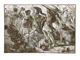 The Thebans and Macedonians at Chaeronea (Litho) Giclee Print by  English