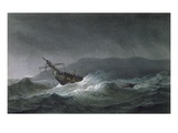 Loss of the Blanche, Off Abrevack, 4th March, 1807, Engraved by T. Sutherland Giclee Print by Thomas Whitcombe