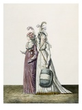 Evening Dresses, Fig 34 and Fig 35 from 'The Gallery of Fashion', 1797 (Coloured Engraving) Giclee Print by Nicolaus von Heideloff