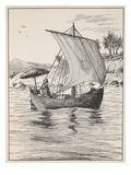 Robinson Crusoe on His Boat Giclee Print by  English