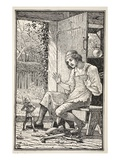 Immediately a Tiny Being Hopped from under the Leather Scraps at His Feet Giclee Print by Walter Crane