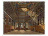 King's Guard Chamber, Windsor Castle, from 'Royal Residences', Engraved by Thomas Sutherland Giclee Print by Charles Wild