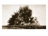 A Large Mine Being Detonated in French Territory During World War One (B/W Photo) Giclee Print by  English Photographer