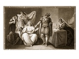 The Queen Dowager Putting Herself and Her Daughters under the Protection of Richard III Giclee Print by  English