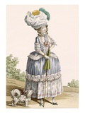 Lady Walking Her Dog, Engraved by Voysard, Plate No.28 Giclee Print by Claude Louis Desrais